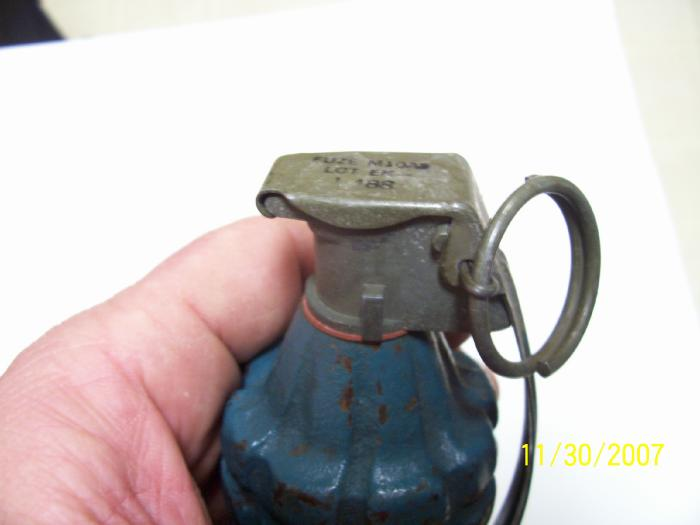 Ww2 Us Mk2 Grenade Blue Practice With Fuse