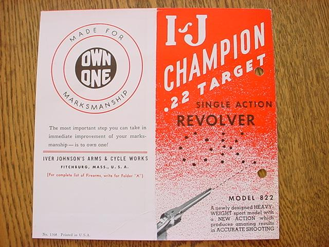 Iver Johnson Champion .22 revolver brochure 822