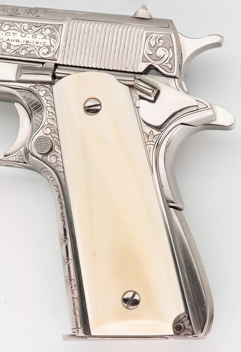 Colt 1911a1 Govt Customized Engraved Nickel Ivory Grips 45 Acp Gorgeous  Pistol