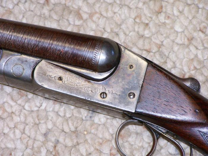 ITHACA HAMMERLESS, 12 GA, - LEWIS MODEL, 1901-1906, DAMASCUS BBLS, C&R OK - Picture 6