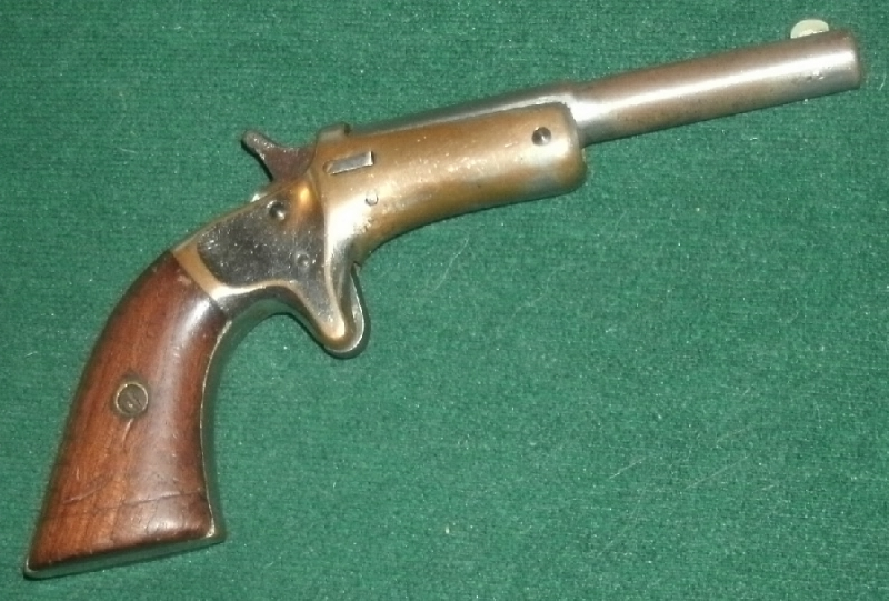Stevens - Stevens Brass frame Single-shot .22 tip-up pistol - Picture 3