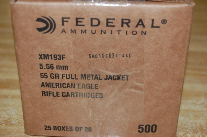 500 Rds Federal XM193F 55 gr 5.56mm FMJ Free Ship