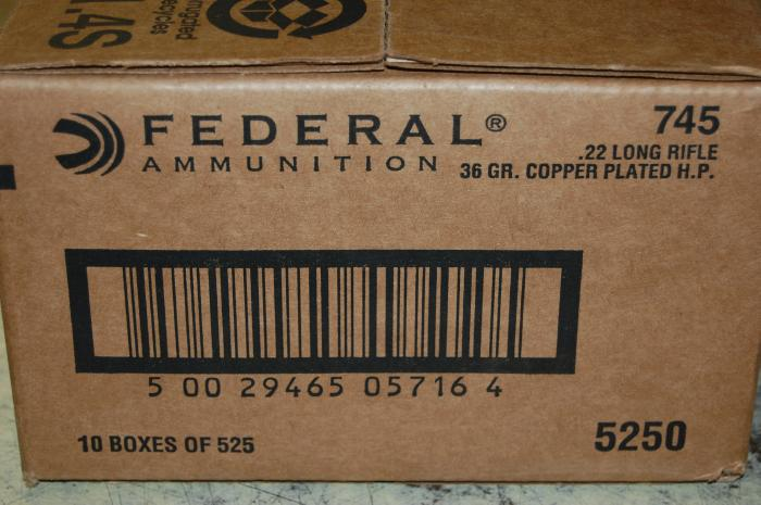5250 Rnds Federal 22LR 36 GR HP Free Shipping #745 - Picture 1