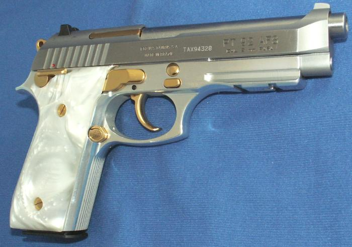 Taurus - PT 92 9MM STAINLESS PISTOL GOLD ACCENTS ACC. RAIL - Picture 2