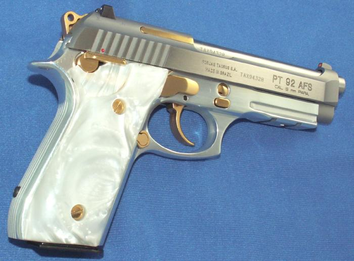 Taurus - PT 92 9MM STAINLESS PISTOL GOLD ACCENTS ACC. RAIL - Picture 3