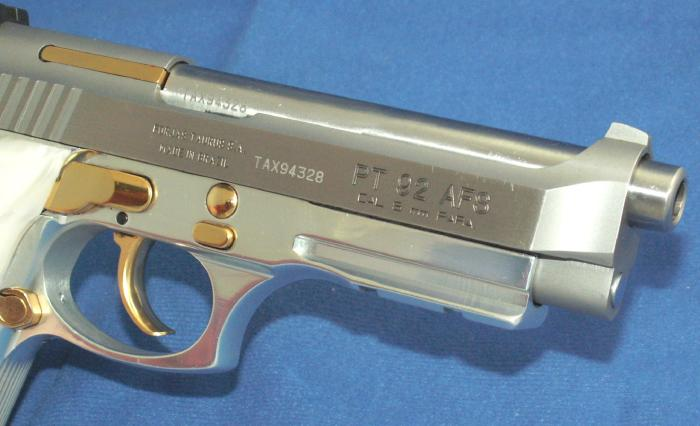 Taurus - PT 92 9MM STAINLESS PISTOL GOLD ACCENTS ACC. RAIL - Picture 4