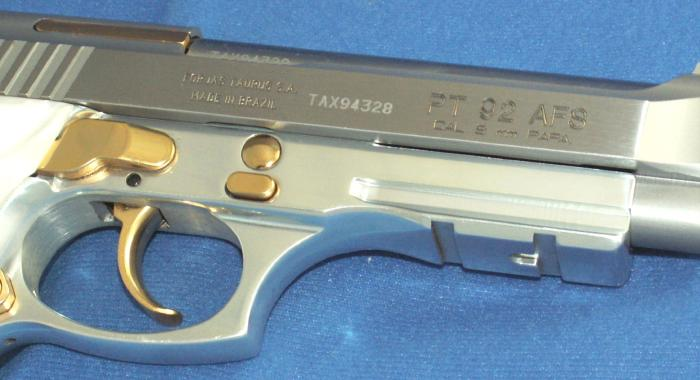 Taurus - PT 92 9MM STAINLESS PISTOL GOLD ACCENTS ACC. RAIL - Picture 5