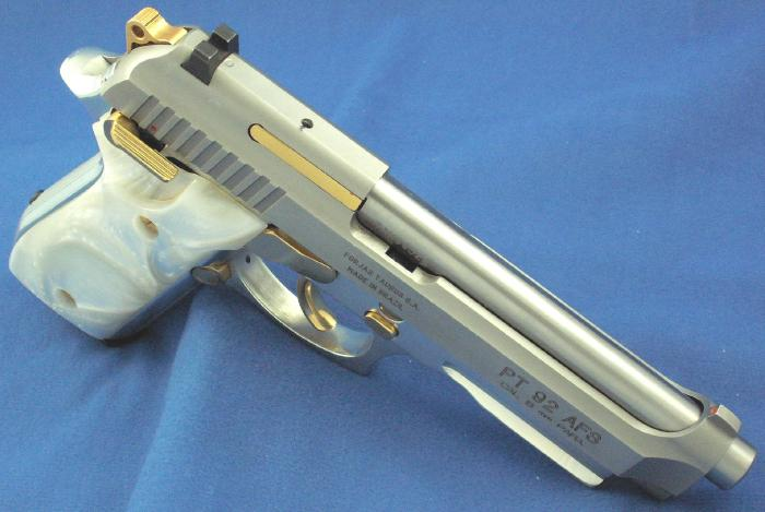 Taurus - PT 92 9MM STAINLESS PISTOL GOLD ACCENTS ACC. RAIL - Picture 8